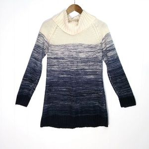 Carolyn Taylor Blue and Cream Cowl Neck Sweater